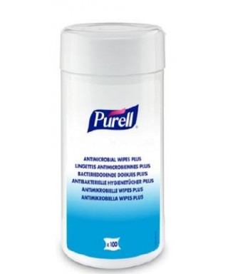 LINGETTES MAINS ET SURFACES PURELL ANTIMICROBIAL WIPES PLUS x100
